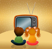Child watch cartoons Royalty Free Stock Photo