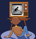 Child watching animated cartoon. In ancient tv Stock Illustration