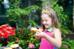 Child watching butterfly at tropical garden. Stock Photos