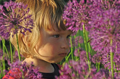 A child watching an insect Royalty Free Stock Image