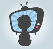Child watching TV. Watching TV on background. Vector design Vector Illustration