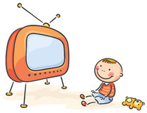 Child watching TV, isolated Royalty Free Stock Images