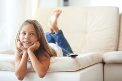 Child watching tv Stock Photography