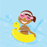 Child in water pool. Cute girl in water pool. Vector Illustration Stock Photography