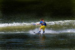 Child Water Skiing Royalty Free Stock Photos