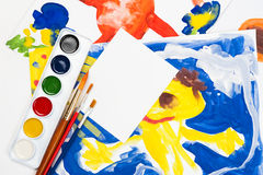 Child watercolor illustration with blank sheet Royalty Free Stock Photography