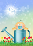 Child in watering can Stock Image
