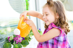 Child watering flowers Stock Images