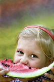 A child with watermelon Stock Images