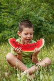 Child with watermelon Stock Photography