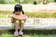 Child with watermelon Stock Photos