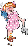 The child with the weapon. The little girl with a pistol and a head of a plush hare in hands. A  illustration Royalty Free Stock Images