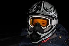 Child Wearing an ATV Helmet at Night.  Royalty Free Stock Photos