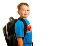 child wearing backpack isolated on white Royalty Free Stock Images