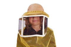 Child wearing a beekeeper's hat Stock Photography