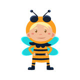 Child Wearing Costume of Bee. Vector Illustration Stock Photos