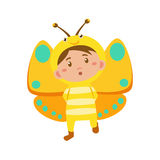 Child Wearing Costume of Butterfly. Vector Illustration Stock Photography