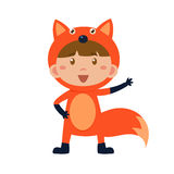 Child Wearing Costume of Fox. Vector Illustration Royalty Free Stock Image