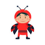 Child Wearing Costume of Ladybird. Vector Illustration Royalty Free Stock Photo