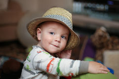 Child wearing a fedora hat Royalty Free Stock Photography