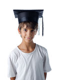 Child wearing graduation hat Stock Images
