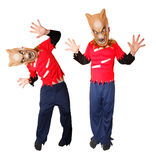 Halloween costume. Child wearing a werewolf Halloween costume on isolated white background Stock Image
