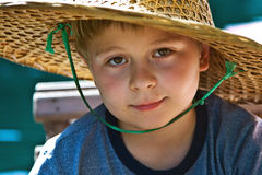 Child is wearing a hat made Royalty Free Stock Photos