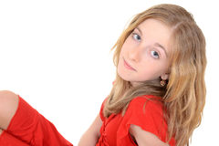 Child wearing red sparkle dress Stock Images