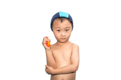 Child wearing swimsuit Stock Images