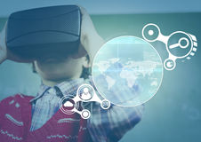 Child wearing VR Virtual Reality Headset with Interface Stock Photo