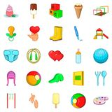 Child welfare icons set, cartoon style Royalty Free Stock Photography