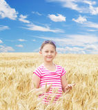 Child and  wheat field Royalty Free Stock Images