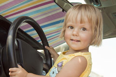 The child at the wheel Royalty Free Stock Images