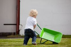 Child with Wheelbarrow. A young child pushing a wheelbarrow Royalty Free Stock Photos