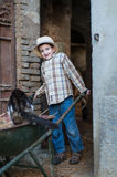 Child with a wheelbarrow with a cat. Child that loads the straw and a cat on the wheelbarrow Stock Photography