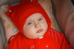 The child is in a wheelchair. A six-month-old girl stock images