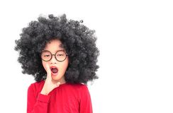 Child gossip. Portrait afro head girl gossip acting on white background royalty free stock photo