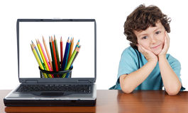 Child whit laptop. A over white background whit text (back to school Stock Images