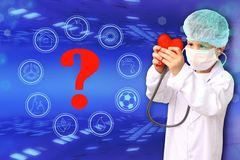 Child in a white doctor's coat, hat and mask attached a stethoscope to a red heart model, innovative research background, close-
