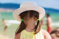 Child in a white hat Royalty Free Stock Image
