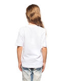 Child in white t-shirt. Girl isolated on white Royalty Free Stock Photography