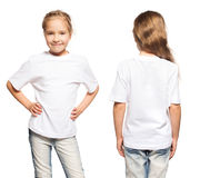 Child in white t-shirt. Girl isolated on white Stock Photography