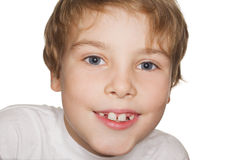 Child in a white t-shirt photography studio Stock Photos
