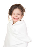 Child in white towel Stock Images