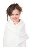 Child in white towel Royalty Free Stock Photography