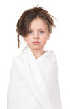Child in white towel Royalty Free Stock Image