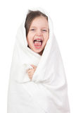 Child in white towel Stock Image
