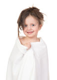 Child in white towel Stock Photo