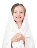 Child in white towel Royalty Free Stock Images