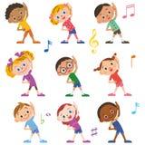 The child who does radio exercises Stock Image